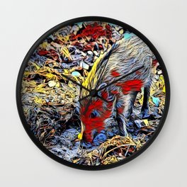 Color Kick - young boar Wall Clock