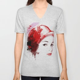 Beauty in red hat, Fashion Beauty, Fashion Painting, Fashion IIlustration, Vogue Portrait, #18 Unisex V-Neck