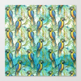 Watercolor blue yellow tropical parrot bird floral Canvas Print