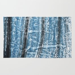 Black Blue colored wash drawing texture Rug