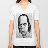 nick cave V-neck T-shirts featuring Nick Cave by Mr Shins