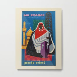 Air France. Vintage travel advertising poster to promote travel to Middle East. Guy Georget 1955. Metal Print