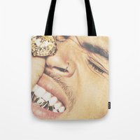 chris evans Tote Bags featuring Chris by POSH OUTSIDERS