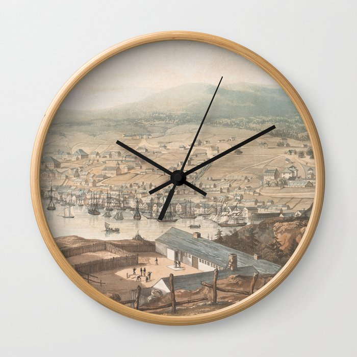 Vintage Pictorial Map of St Johns Newfoundland (1831) Wall Clock