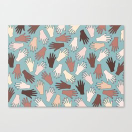 Nail Expert Studio - Colorful Manicured Hands Pattern Canvas Print