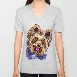 The cute smiley Yorkie love of my life! Unisex V-Neck