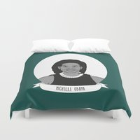 obama Duvet Covers featuring Michelle Obama by Illustrated Women in History