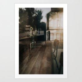 Morning Light Through Coffee Shop Windows Art Print