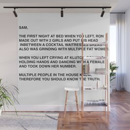 Anonymous Letter To Sammi Sweetheart Jersey Shore Wall Mural