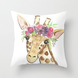 Flower Crown Giraffe Watercolor Throw Pillow