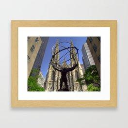 Atlas Statue at the Rockefeller Plaza, Fifth Avenue, New York Framed Art Print