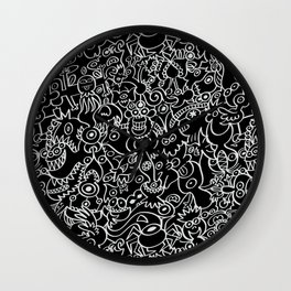Pattern design crowded with terrific doodles Wall Clock