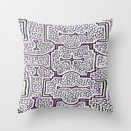 Song to Support Good Health - Traditional Shipibo Art - Indigenous Ayahuasca Patterns Throw Pillow