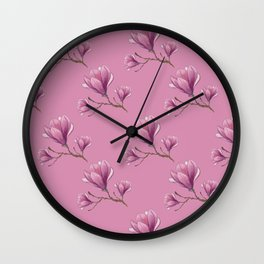 Pink magnolia Wall Clock