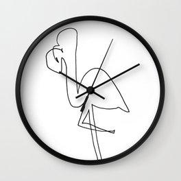 Line Flamingo Wall Clock