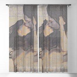 Women Kissing Sheer Curtain
