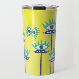 Evil Eye Nazar protective Garden Yellow Travel Mug