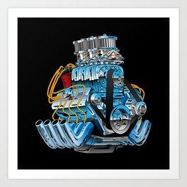 Classic Muscle Car Hot Rod Chrome Racing Engine Cartoon Art Print
