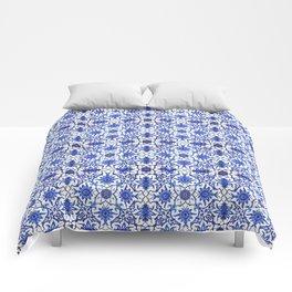 Art Nouveau Chinese Tile, Cobalt Blue & White Comforters