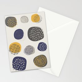 Abstract Circles in Mustard, Charcoal, and Navy Stationery Cards