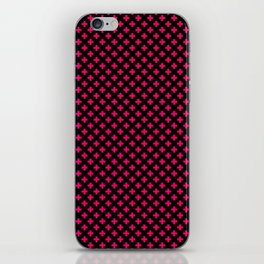 Small Hot Neon Pink Crosses on Black iPhone Skin