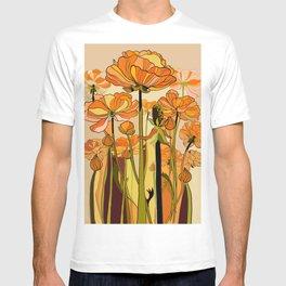Orange California poppies, mid century, 70s retro, flowers T-shirt