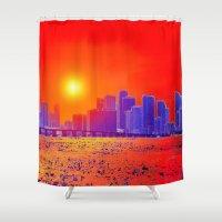sandman Shower Curtains featuring Downtown Miami   by JT Digital Art