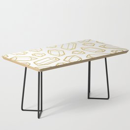 Gold and White Gemstone Pattern Coffee Table