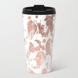 Luxurious faux rose gold foil brustrokes splatters Travel Mug