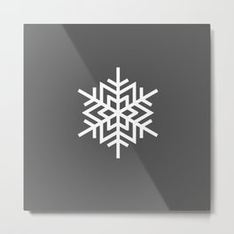 Simple Grey and White Snowflake Metal Print