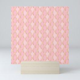 Pretty Pink and Gold Diamond Scallops Mini Art Print