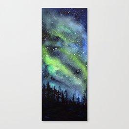 Galaxy Nebula Watercolor Northern Lights Aurora Borealis Canvas Print