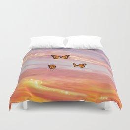 Butterfly Sunset Aesthetic Duvet Cover