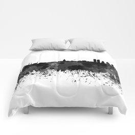 Istanbul skyline in black watercolor Comforters