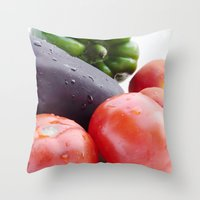 vegetables Throw Pillows featuring Vegetables by Carlo Toffolo