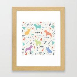 French Bulldog Pattern Framed Art Print