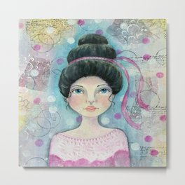 Lady in Pink Metal Print