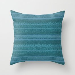 Big Stich Aqua Teal - Knitting Fabric Art Throw Pillow