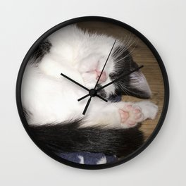 Cute Sleeping black and white cat Wall Clock
