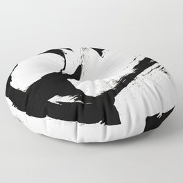 Brushstroke 6: a minimal, abstract, black and white piece Floor Pillow