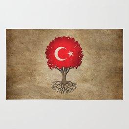 Vintage Tree of Life with Flag of Turkey Rug