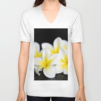 singapore V-neck T-shirts featuring Plumeria obtusa Singapore White by Sharon Mau
