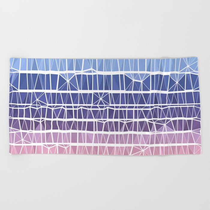 Low Poly Pink, Purple, and Blue Gradient Beach Towel