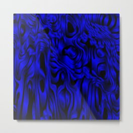 Magical flowing blue avalanche of lines with dark. Metal Print