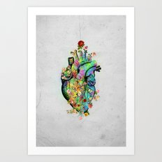 Flowers colorful heart watercolor Art Print