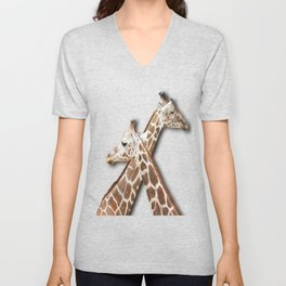 Giraffes Passing in the Night Unisex V-Neck