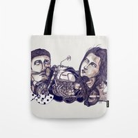 motorcycle Tote Bags featuring motorcycle by 2choey