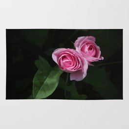Pink and Dark Green Roses on Black Rug