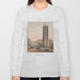 Paris art print Paris Decor office decoration vintage decor TOUR SAINT JACQUES of Paris Long Sleeve T-shirt