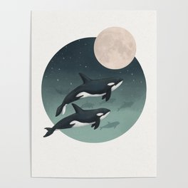 moonlight caravan // orcas Poster